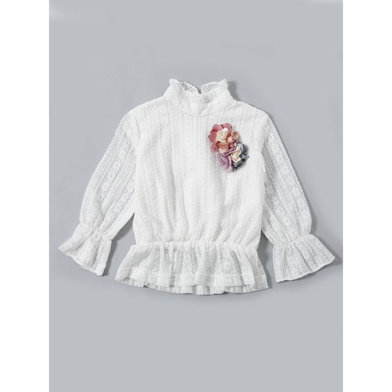 Flower Trimmed Illusion Lace Ruffled Flare Sleeve Baby Toddler Girl Blouse Shirt Top
