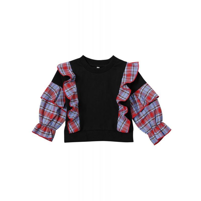 Checked Ruffled Pullover Tee Baby Toddler Girl Sweatshirt Top
