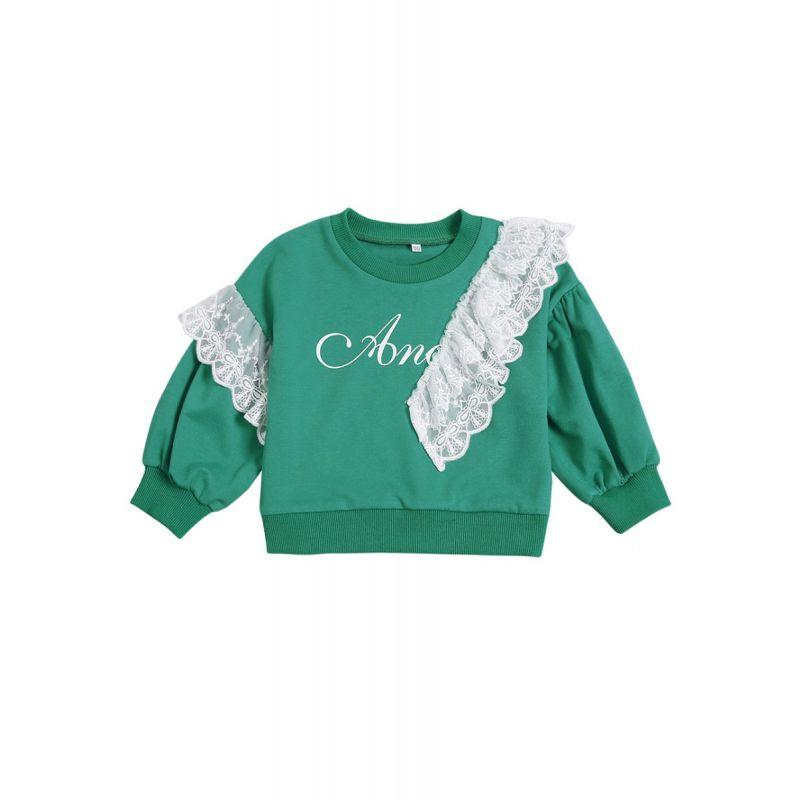 Letters Print Lace Trimmed Jumper Infant Girl Kids Sweatshirt Top for Spring