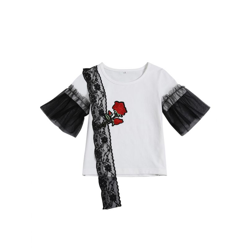 Rose Embroidery Black Lace Trimmed T-shirt Mesh Stitching Patchwork Sleeve Pullover Top for Juniors Girl