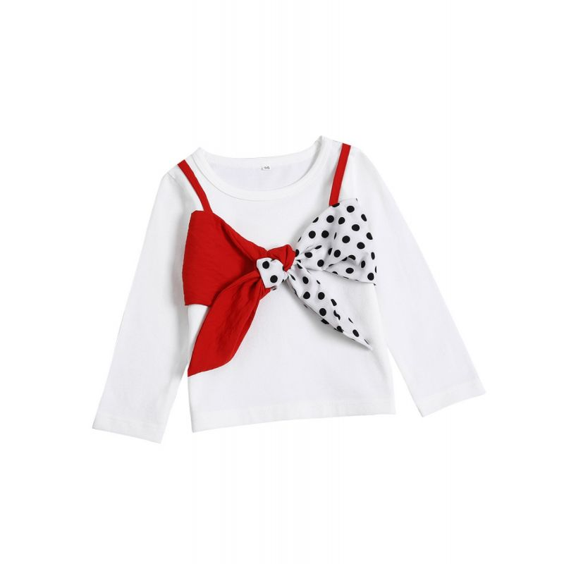 Baby Toddler Girl Color Blocking Big Bow Trimmed T-shirt Pullover Top