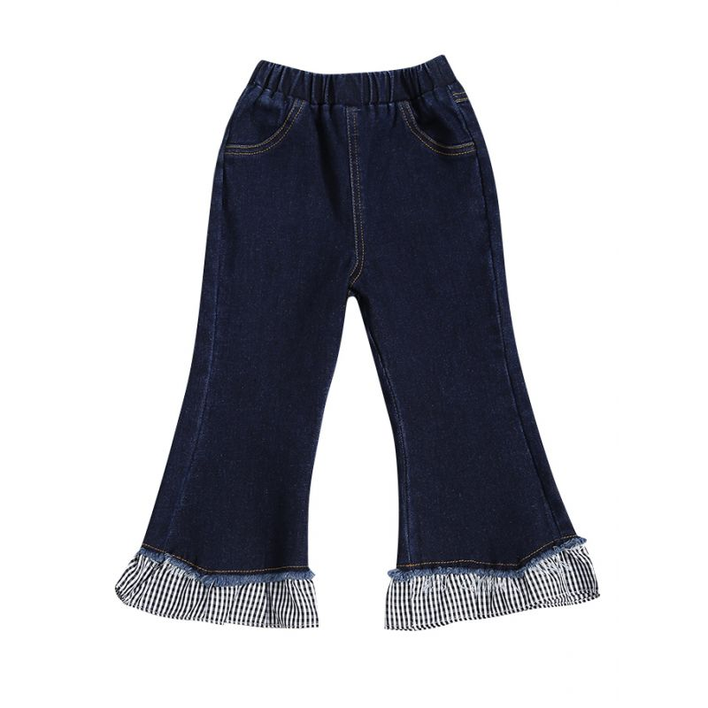 Fashion Checked Patchwork Flared Jeans Baby Toddler Preschool Girl Denim Casual Bell-bottoms