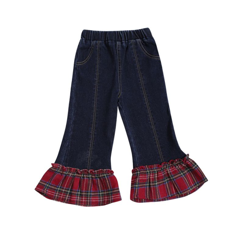Stylish Plaid Patchwork Denim Casual Bell-bottoms Infant Toddler Kids Flared Jeans