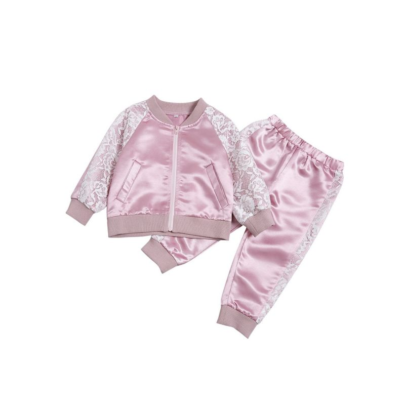 2-piece Baby Kids Pink Casual Sportswear Outfit Set Floral Lace Trimmed Jacket+Pants