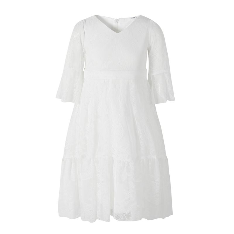 V Collar Flared Sleeve First Holy Communion Dress White Illusion Lace Baptism Dress Christening Gown