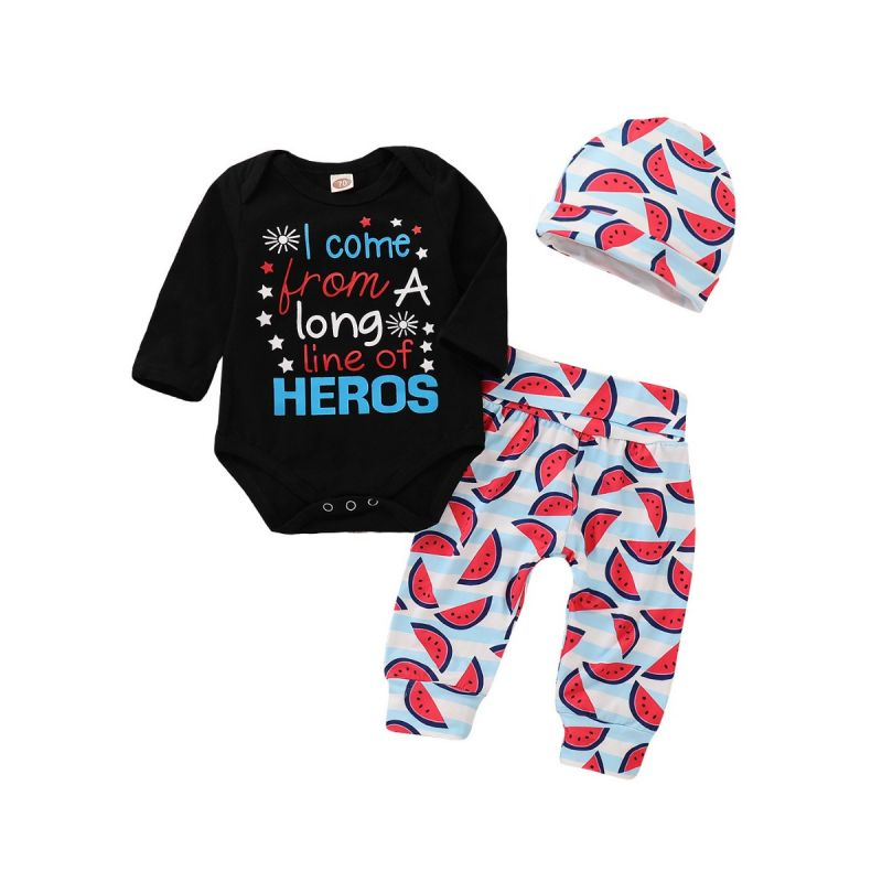 3-piece Baby Romper Clothes Outfit Set Letters Star Print Long Sleeve Romper+Watermelon Long Pants +Hat