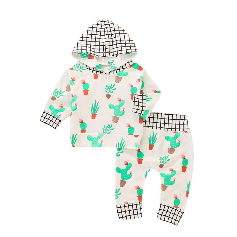 2-piece Infant Boys Girls Spring Sports Clothing Outfit Set Checked Cactus Hoodie Sweatshirt Long Sleeve+Long Trousers