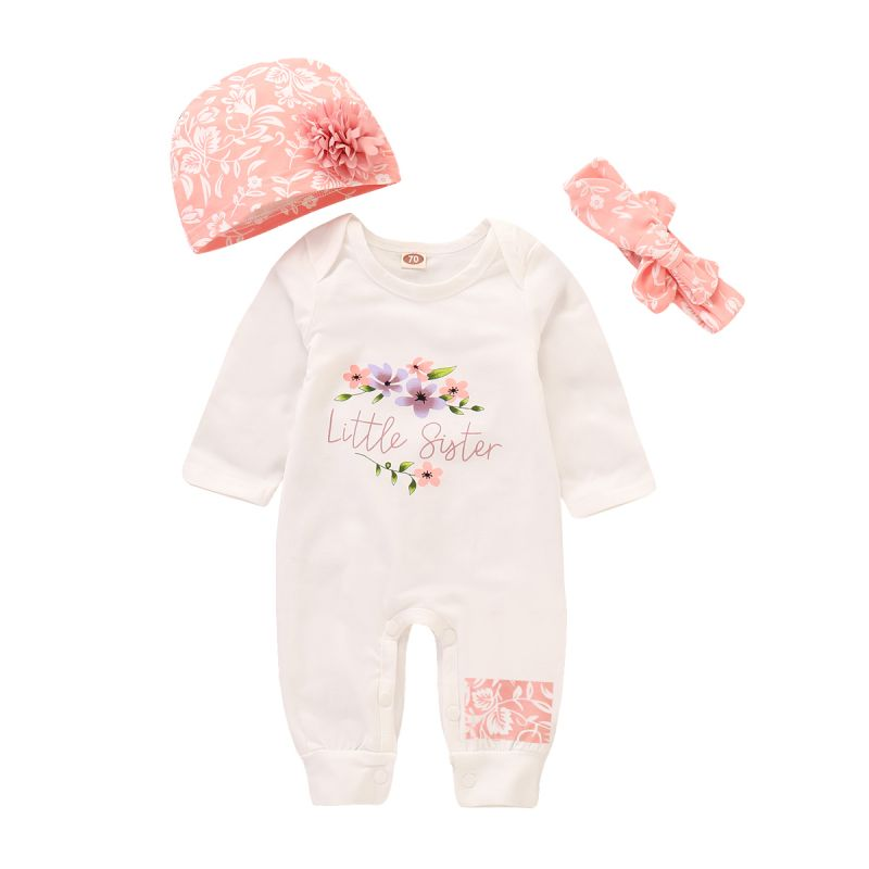 3-piece Newborn Baby Girl Clothing Outfit Set Little Sister Floral Romper Jumpsuit+Flower Trimmed Hat+Bow Headband