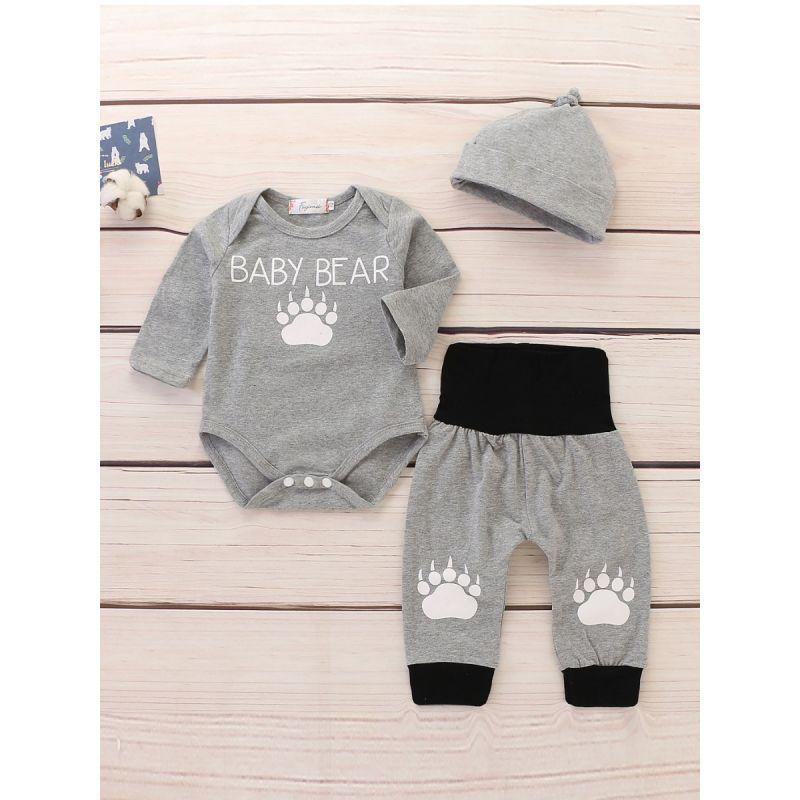 3-piece Bear Foot Print Infant Clothes Outfit Set BABY BEAR Romper Bodysuit+Color-blocking Pants+Hat