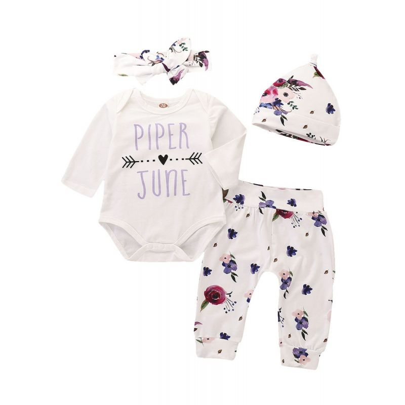 4-piece Infant Girl Romper Pants Clothes Outfit Set PIPER Letter Print Love Heart Romper Onesie+Floral Trousers+Hat+Bowknot Headband