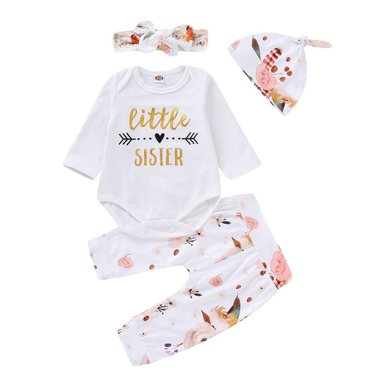 4-piece Baby Girl Romper Pants Outfit Set Shiny Little Sister Print Romper Onesie Long Sleeve+Floral Pants+Flower Hat +Bow Headband