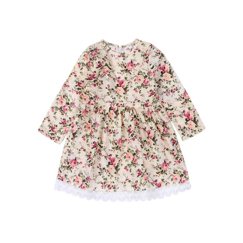Toddler Big Girl Floral Lace Trimmed One-Piece Dress Spring Casual Dress