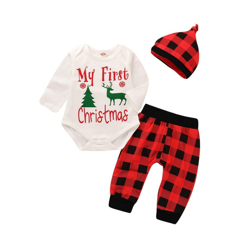 3-piece Baby Christmas Clothes Outfit Set My First Christmas Reindeer Romper+Black & Red Checked Long Pants+Plaid Hat