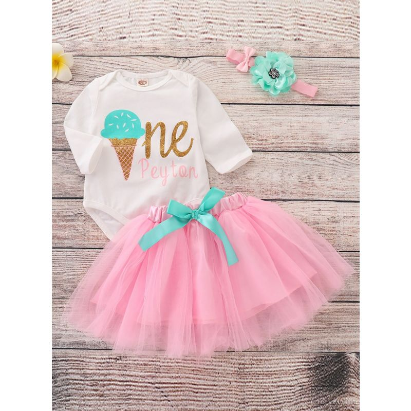 3-piece Baby Girl Romper Tutu Skirt Outfit Set Shiny Gold Ice Cream Letters Print Romper Bodysuit+Bow Pink Tutu Skirt+Headband