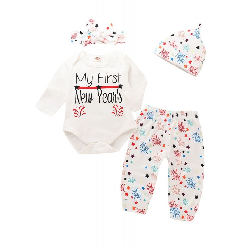 4-piece My First New Year Baby Girl Romper Pants Set Star Letters Print Long Sleeve Romper Bodysuit+Fireworks Long Pants+Hat+Bowknot Headband