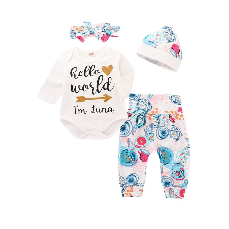 4-piece Infant Girl Spring Casual Clothes Outfit Set Hello World Shiny Gold Heart Arrow Romper Bodysuit+Floral Trousers+Hat+Bowknot Headband