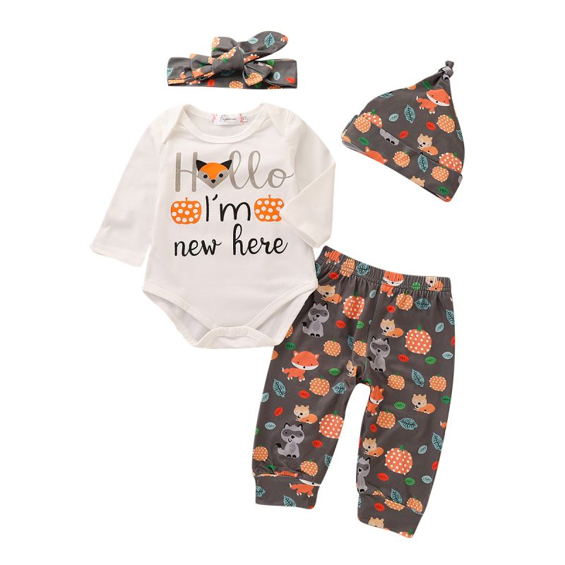 4-piece Cartoon Fox Baby Spring Autumn Clothing Outfit Set Hello I'm New Here Letters Print Romper Onesie+Cartoon Fox  Pants+Hat+Bow Headband