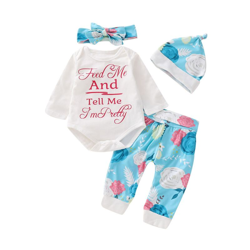 4-piece Baby Girl Spring Autumn Clothes Outfit Set Letters Print Bodysuit+Floral Pants+Flower Hat+Bow Headband