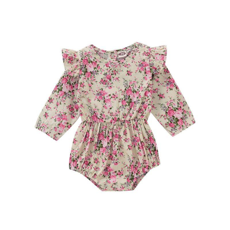 Floral-print Ruffle Shoulder Bodysuit Baby Girl Romper