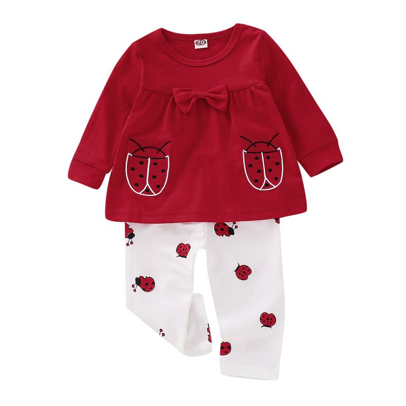 2-Piece Baby Girl Cute Clothes Set Bow Ladybird  Print Red Top+Pants