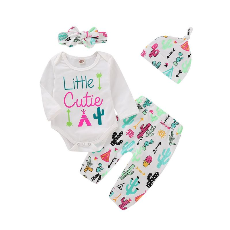 4-Piece Baby Girl Outfit Clothes Set Letters Print Bodysuit+Cartoon Cactus Pants+Bow Headband+Hat
