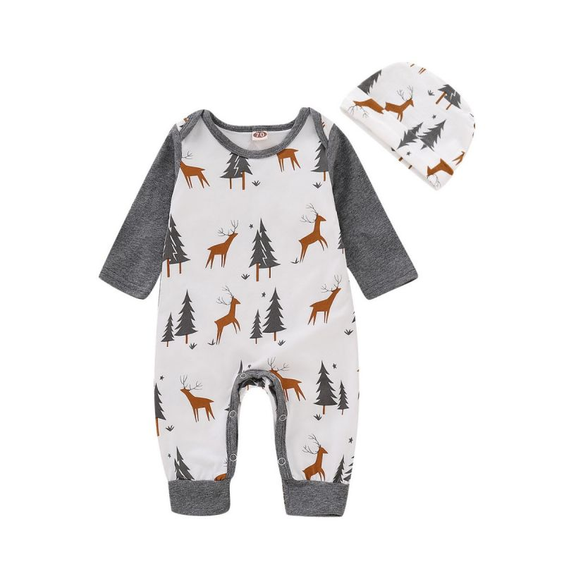 Christmas Tree Reindeer Color-blocking Unisex Baby Romper Jumpsuit with Hat