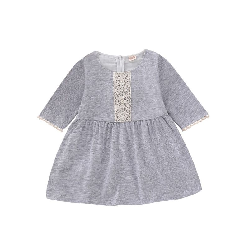 Lace Trimmed Baby Little Girl Spring Casual Dress Grey