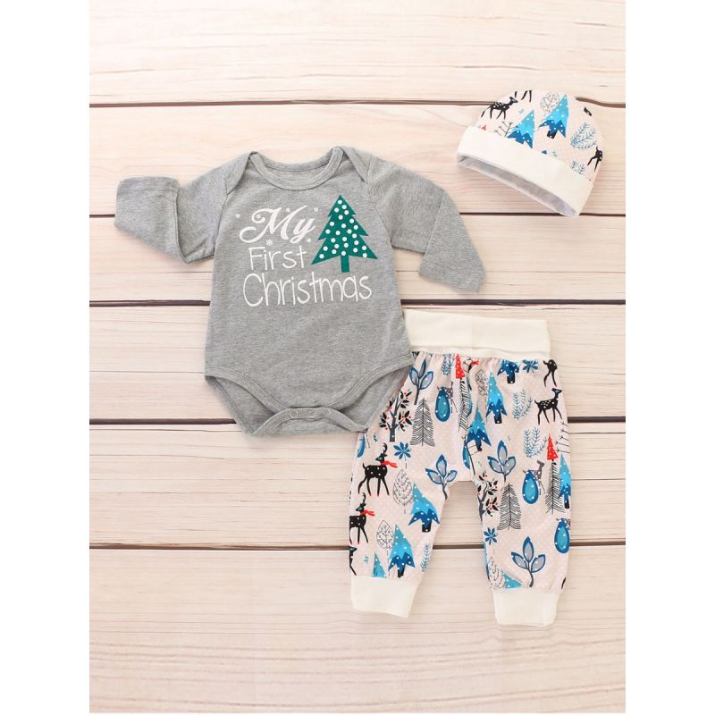 3-piece My First Christmas Unisex Baby Outfit Set Christmas Tree Romper Bodysuit+Cartoon Reindeer Tree Leaf Pants+Hat