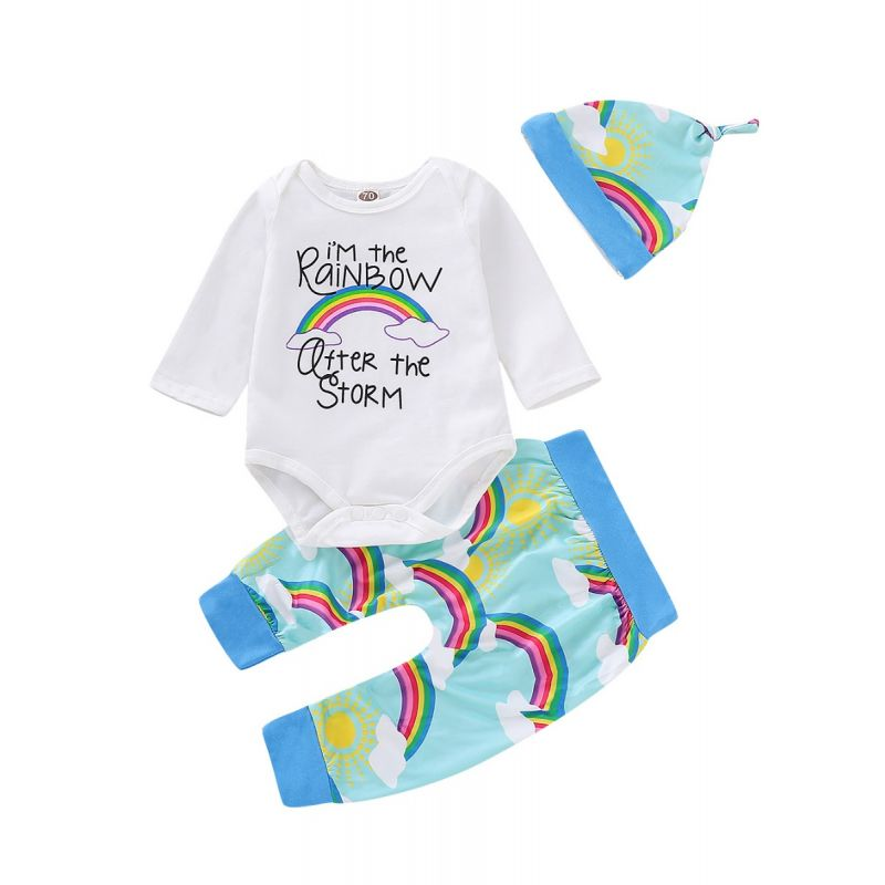 3-piece Baby Girl Rainbow Outfit Clothes  Set I'M THE RAINBOW Bodysuit Long Sleeve +Rainbow Sun Print Pants+Hat