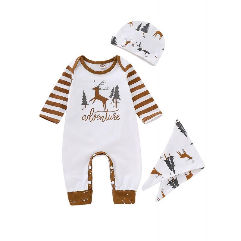 3-piece Christmas Infant Jumpsuit Clothes Set Christmas Tree Reindeer Striped Jumpsuit Romper+Hat+Bib