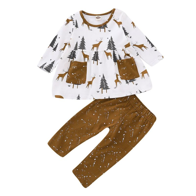 2-piece Baby Girl Chirstmas Clothes Outfit Set Christmas Tree Reindeer Blouse Shirt with Pocket+Pants