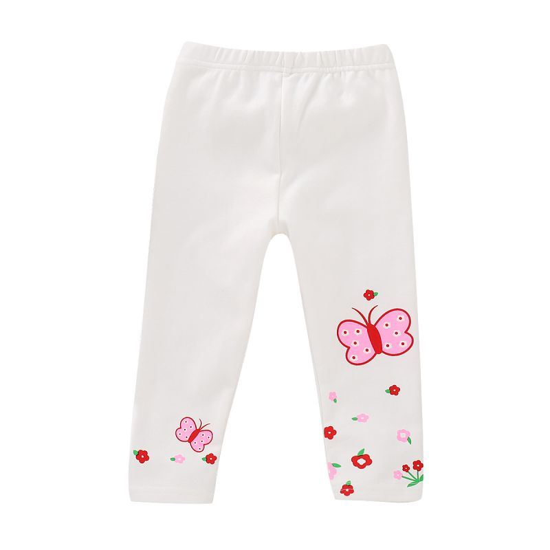 Floral Butterfly White Leggings Little Big Girl Footless Tights for Spring