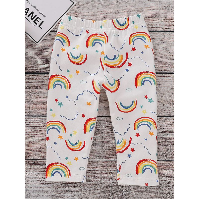 Toddler Big Girl Rainbow Leggings Kids Footless Tights for Spring Autumn