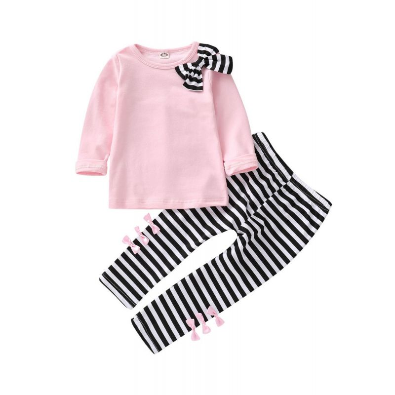 2-piece Toddler Big Girl Clothes Outfit Set Bow Pink T-shirt+Black & White Striped Pants