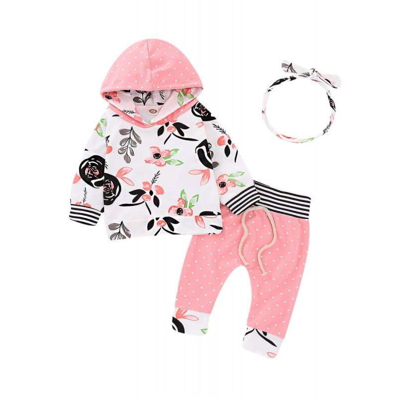 3-Piece Infant Girl Clothes Outfit Set Floral Hoodie Sweatshirt+Polka Dots Pants+Bow Headband