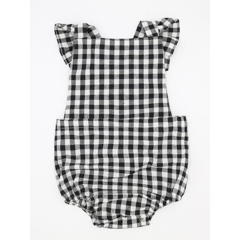 White & Black Plaid Flutter Sleeve Baby Romper Summer Infant Onesie Bodysuit