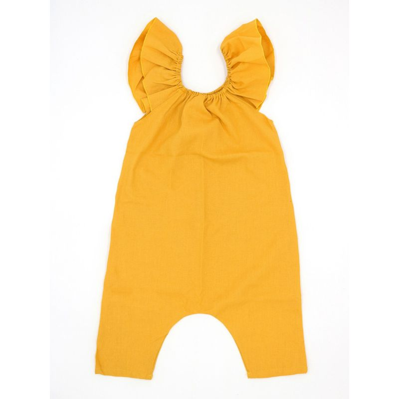 Yellow Baby Toddler Kids Flutter Sleeve Jumpsuit Summer Romper