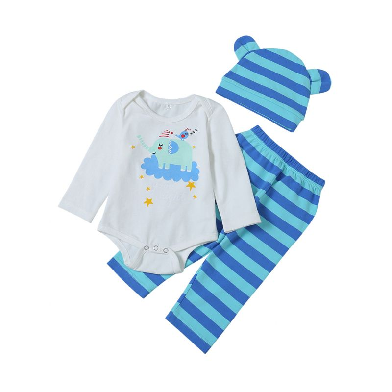 3-piece Baby Spring Clothes Outfit Set  Elephant Birds Romper+Striped Pants+Hat