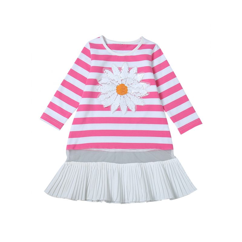 Sequin Flower Trimmed Striped Patchwork Baby Toddler Girl Casual Dress