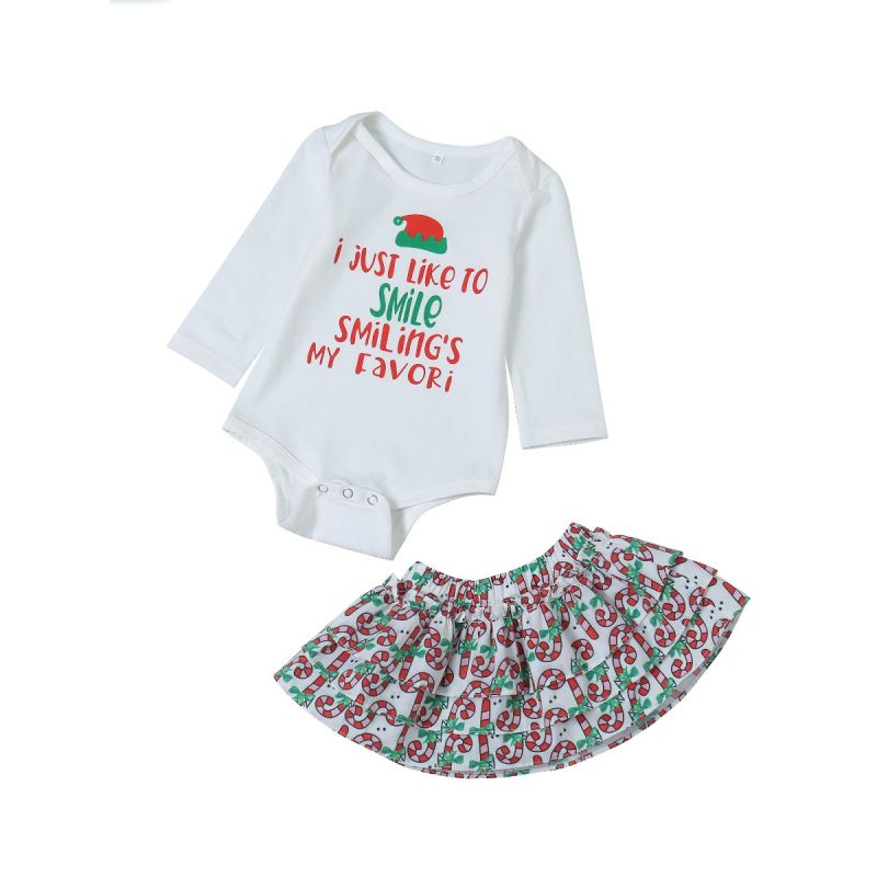 2-piece Christmas Baby Clothes Outfit Set Christmas Hat Letters Print Romper+Candy Cane Skirt