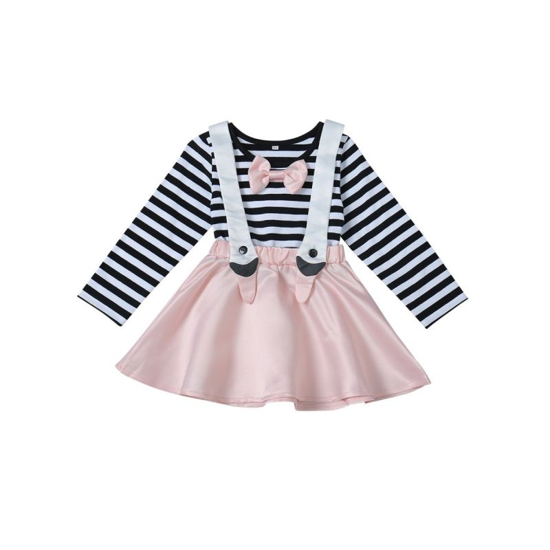 Striped Bow Baby Toddler Girl One-piece Dress for Spring Autumn