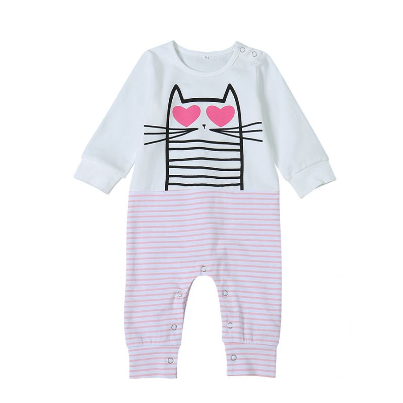 Cute Cat Striped Baby Jumpsuit Onesie Infant Pajama