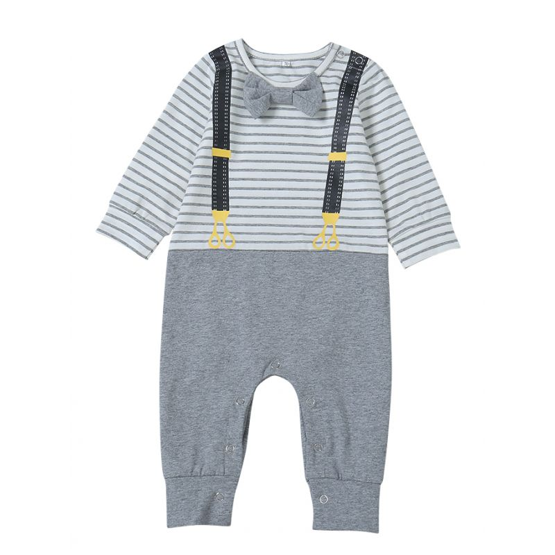 Bow Striped Infant Romper Jumpsuit Spring Baby Coverall