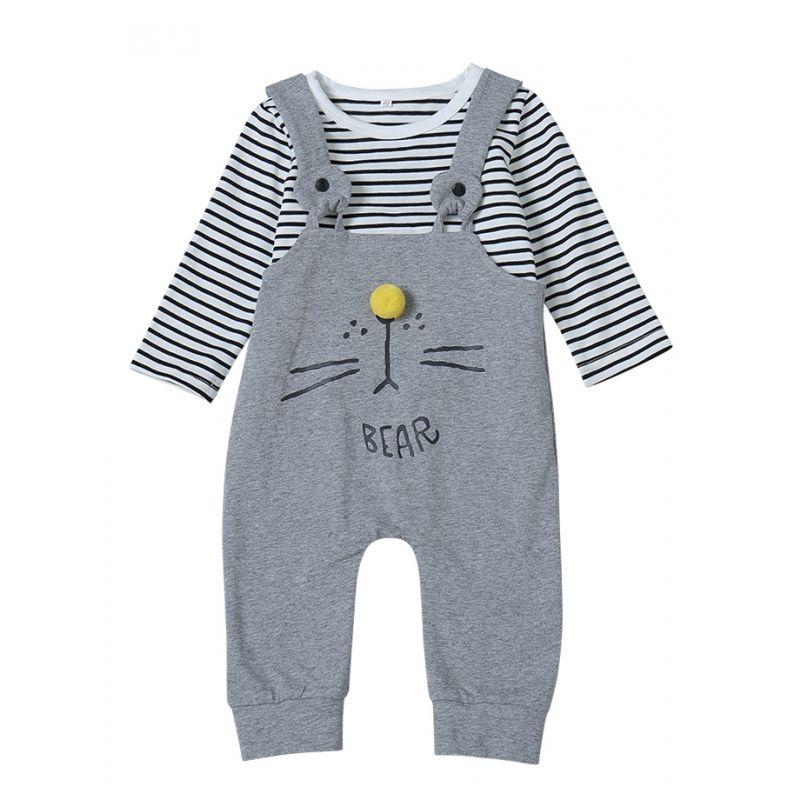Cute Bear Pattern Striped Unisex Baby Romper Coverall Outwear