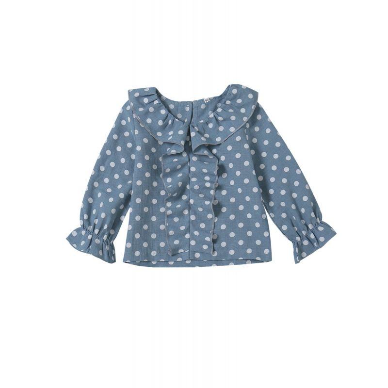 Ruffled Polka Dots Baby Toddler Girl Blouse Shirt