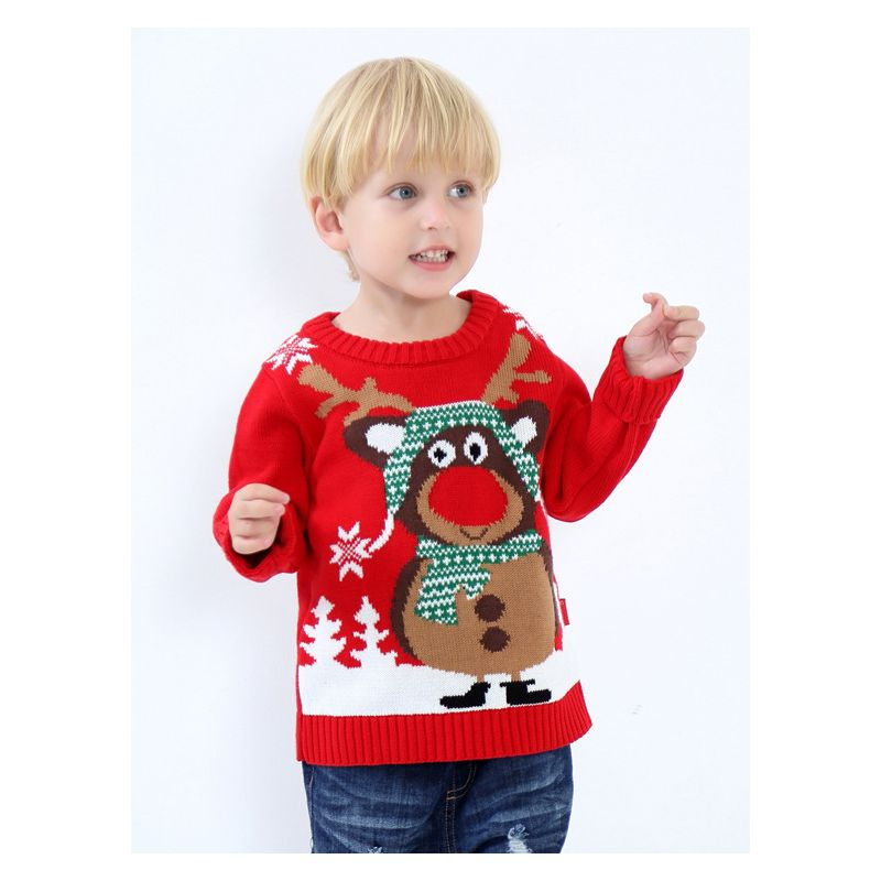 5PCS/PACK Adorable Elk Crochet Toddler Kids Sweater Unisex Christmas Knit Jumper
