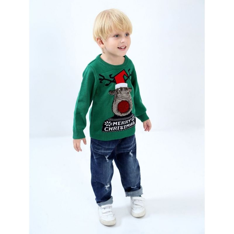 5PCS/PACK MERRY CHRISTMAS Reindeer Crochet  Sweater Toddler Big Kids Christmas Jumper Pullover
