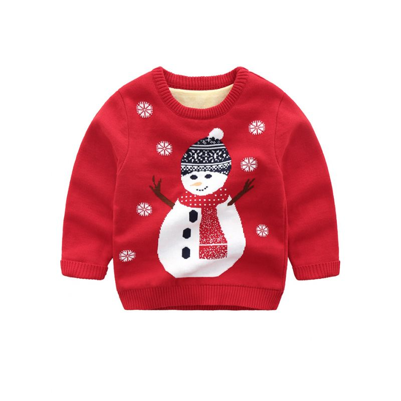5PCS/PACK Cute Snowman Crochet Fleece-lined Sweater Toddler Boys Girl Children Warm Christmas Knit Jumper Sweatshirt