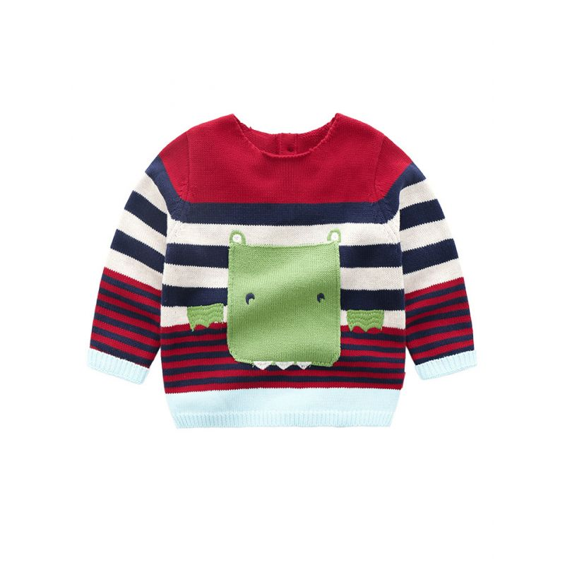 5PCS/PACK Fashion Cartoon Striped Crochet Sweater Toddler Kids Boys Girls Knitted Pullover Jumper