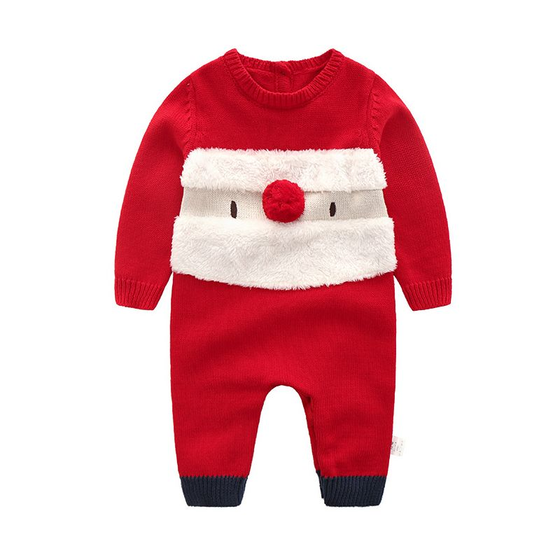 4PCS/PACK Santa Clause Crochet Baby Romper Christmas Infant Knitted Jumpsuit